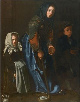 Woman Begging with Two Children
